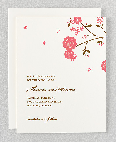Cherry Blossom Letterpress Save the Date