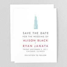 Chicago Skyline---Letterpress Save the Date