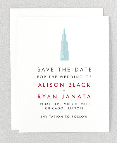 Chicago Skyline Letterpress Save the Date Card