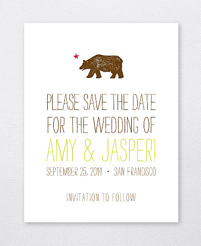 Big Day California Letterpress Save the Date Card