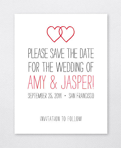 Big Day Hearts Letterpress Save the Date Card