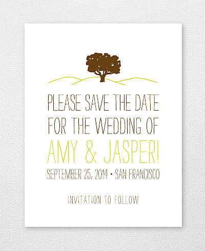 Big Day Oak Letterpress Save the Date Card
