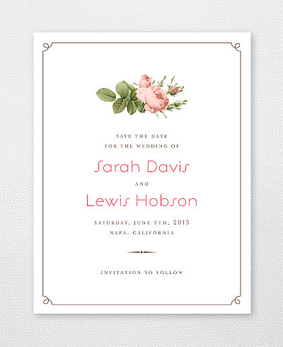 Classic Rose Save the Date Card