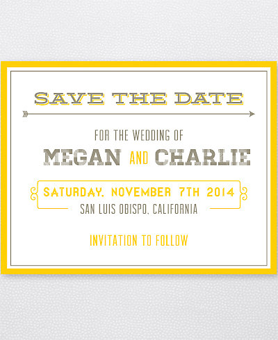 Shields and Arrows Letterpress Save the Date Card