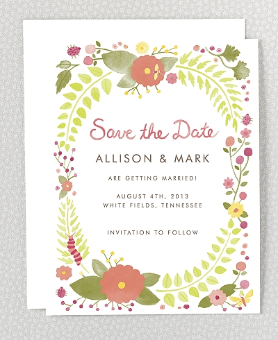 Flora and Fauna Save the Date Card