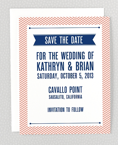 Hearts and Arrows Letterpress Save the Date Card