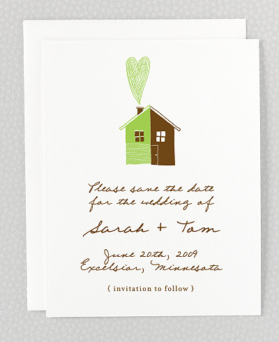 Home Sweet Home Letterpress Save the Date Card