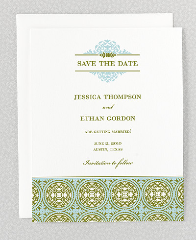 Ironwork Letterpress Save the Date Card