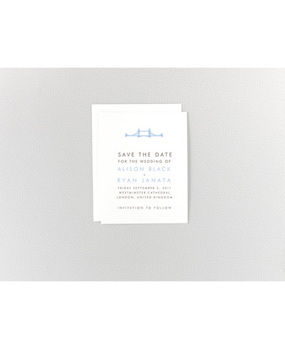 London Skyline Letterpress Save the Date Card