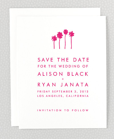 Los Angeles Skyline Save the Date Card