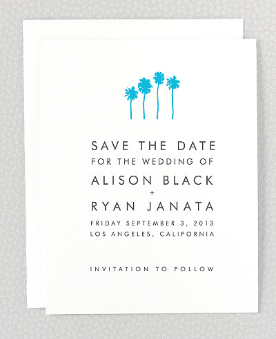 Los Angeles Skyline Letterpress Save the Date Card