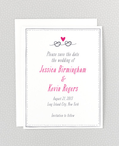 Love Knot Letterpress Save the Date Card