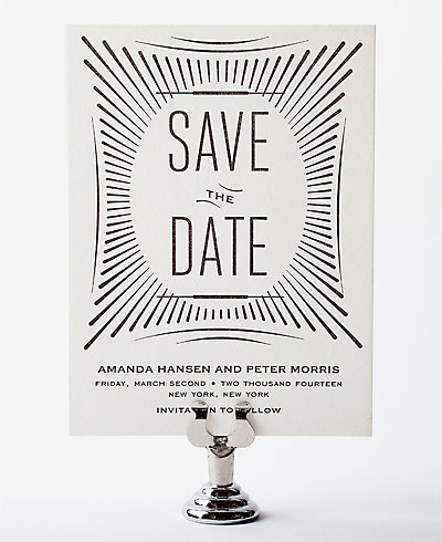 Flourish Letterpress Save the Date Card