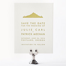 Portland Skyline: Letterpress Save the Date