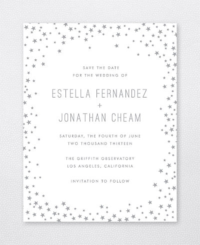Shooting Star Foil/Letterpress Save the Date Card