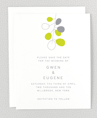 Lunaria Letterpress Save the Date Card