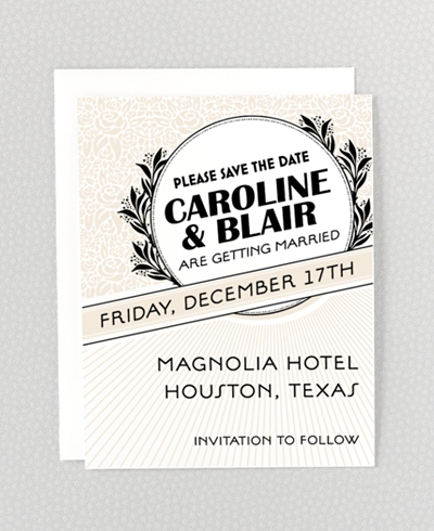 Marquee Letterpress Save the Date Card