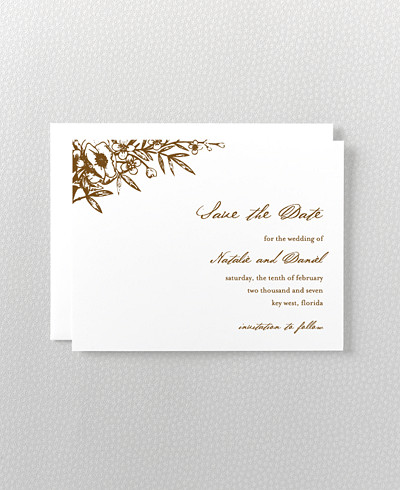 Naturalist Letterpress Save the Date Card