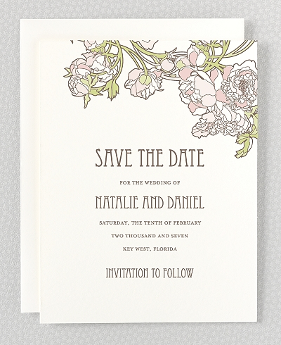 Nouveau Peonies Save the Date Card