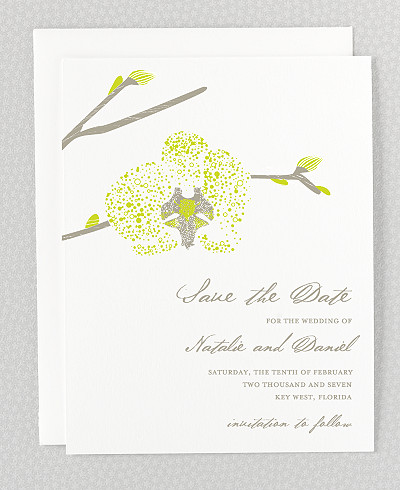 Orchid Save the Date Card
