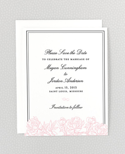 Peonies Letterpress Save the Date Card