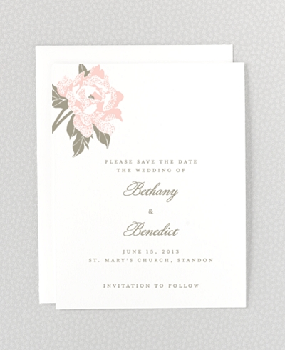 Romantic Garden Letterpress Save the Date Card