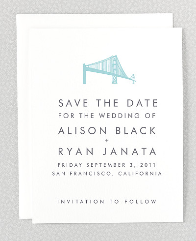 San Francisco Skyline Letterpress Save the Date Card