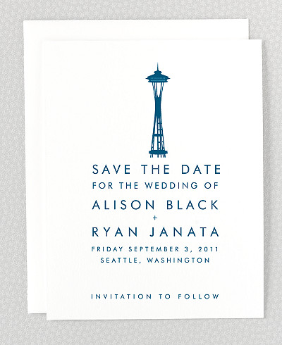 Seattle Skyline Save the Date Card