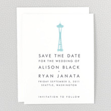Seattle Skyline: Letterpress Save the Date