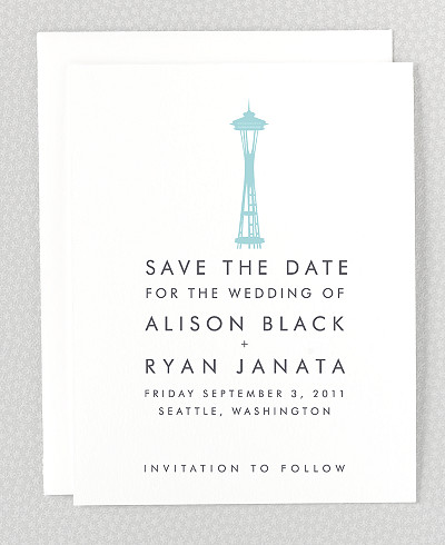 Seattle Skyline Letterpress Save the Date Card