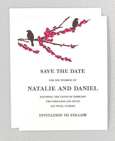 Sparrows Letterpress Save the Date Card