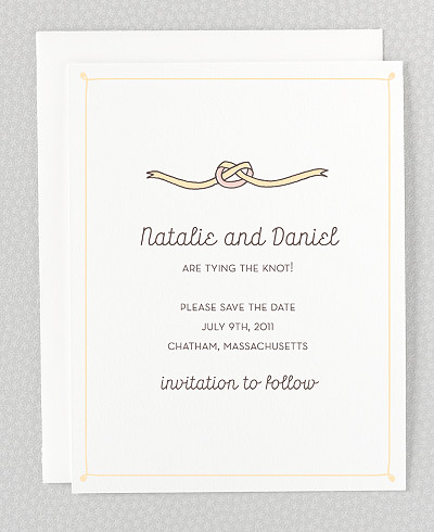 Tie The Knot Letterpress Save the Date Card