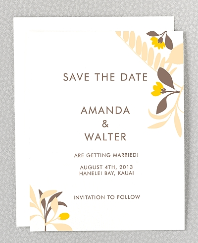 Tropic Letterpress Save the Date Card