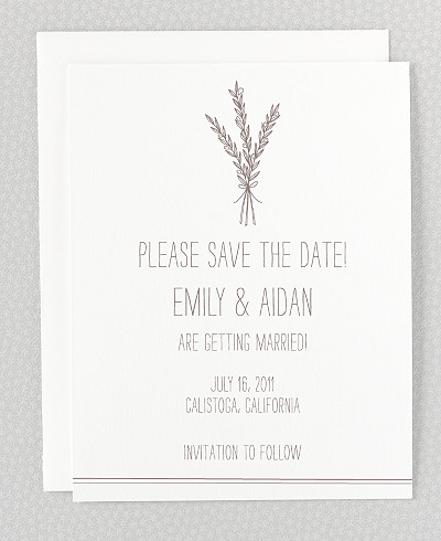 Tuscany Letterpress Save the Date Card