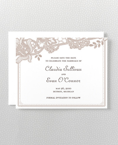 Vintage Lace Letterpress Save the Date