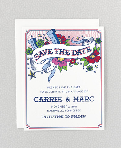 Vintage Tattoo Save the Date Card