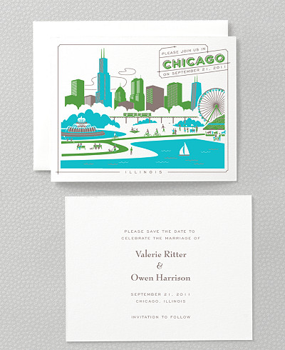Visit Chicago Letterpress Save the Date Card