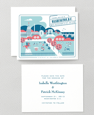 Visit Washington, D.C. Letterpress Save the Date Card