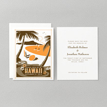 Visit Hawaii---Letterpress Save the Date