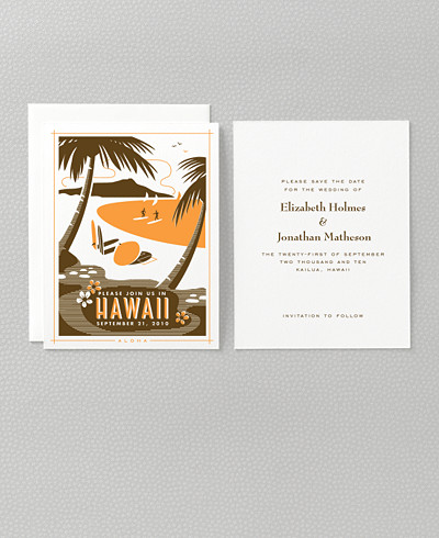 Visit Hawaii Letterpress Save the Date Card