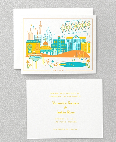 Visit Las Vegas Letterpress Save the Date Card