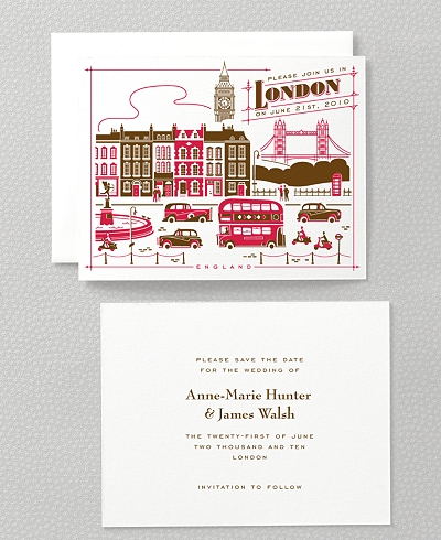 Visit London Letterpress Save the Date Card