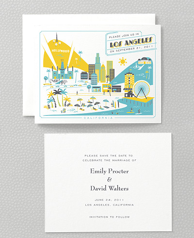 Visit Los Angeles Letterpress Save the Date Card