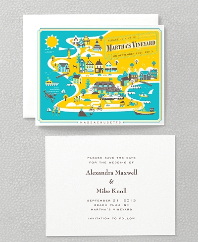 Visit Martha's Vineyard Letterpress Save the Date Card