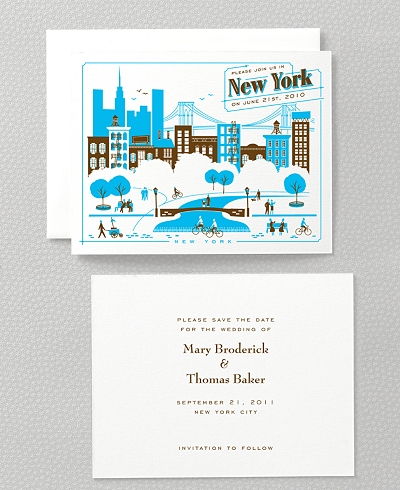 Visit New York Letterpress Save the Date Card
