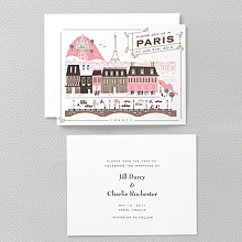 Visit Paris---Letterpress Save the Date