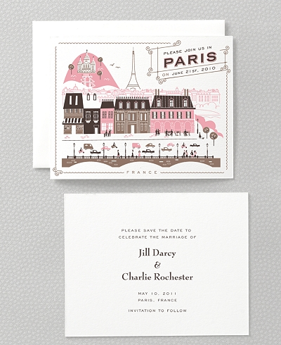 Visit Paris Letterpress Save the Date Card