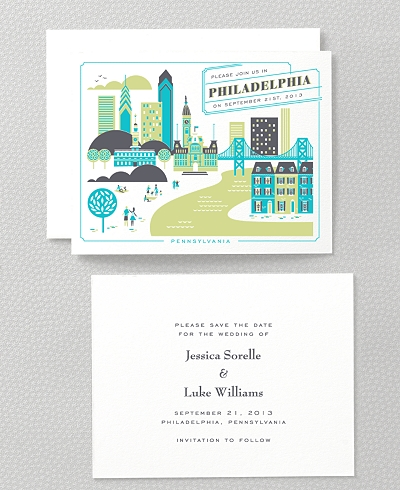 Visit Philadelphia Letterpress Save the Date Card