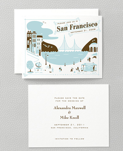 Visit San Francisco Letterpress Save the Date Card