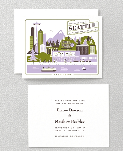 Visit Seattle Letterpress Save the Date Card